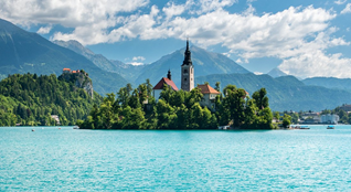 Famous Bled lake island with church